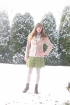 pink Kirkland Hall blazer - gray Hot Topic t-shirt - green Forever 21 skirt - be