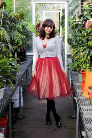 heather gray H&M cardigan - pink unique vintage dress - black Target tights