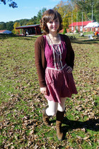 brown Delias sweater - dark brown Timberland boots - magenta peasant dress