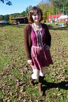 brown Delias sweater - dark brown Timberland boots - magenta peasant dress