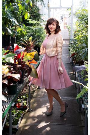 pink Azazie dress - gold sequined Forever 21 jacket - silver Aerosole heels