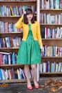Green-lindy-bop-dress-mustard-h-m-cardigan-coral-dana-buchman-pumps