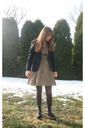 blue Larry Levine blazer - beige H&M dress - gray Apt 9 tights - brown Pineapple