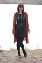 black Lily Rose dress - burnt orange Urban Outfitters sweater