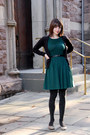 Forest-green-asos-dress-black-silver-sparkled-george-tights