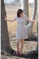 heather gray Lauren Conrad dress - nude Leggs tights - coral Dana Buchman heels