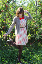 ivory apple print Freeway dress - beige H&M sweater - dark brown tights