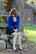 black H&M shoes - black H&M dress - blue MINE blazer