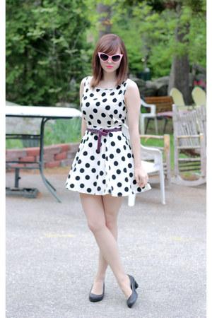 pink sunglasses - white polka dot Forever 21 dress - black lifestride pumps