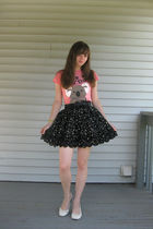 black floral Forever 21 skirt - white slingback wedge Payless shoes