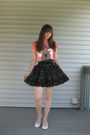 Pink-kohls-t-shirt-black-forever-21-skirt-white-payless-shoes-black-belt