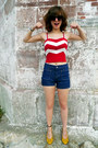 Red-forever-21-top-blue-high-waisted-old-navy-shorts