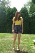 yellow Mudd shirt - blue Forever 21 shorts - brown Rialto Comfort shoes