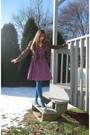 Brown-red-bbq-jacket-purple-h-m-logg-dress-blue-gap-tights-gray-jessica-si