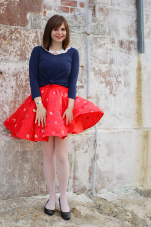 red Nishe dress - white sheer Hanes tights