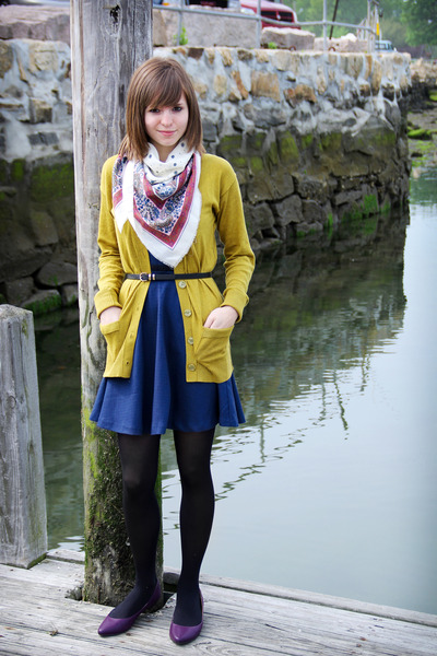 navy polka-dotted coincidence & chance dress - black tights - white scarf