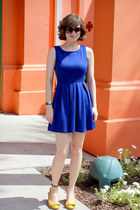 blue Forever 21 dress - black Nine West sunglasses - mustard Payless wedges