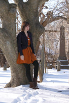 burnt orange Dear Creatures dress - brown thrifted Rockport boots