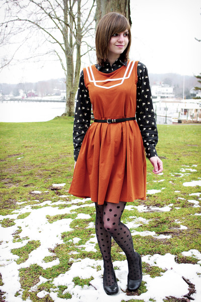 thrifted floral Old Navy shirt - Dear Creatures dress - dotted Apt 9 tights
