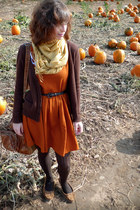 brown Delias cardigan - burnt orange Dear Creatures dress