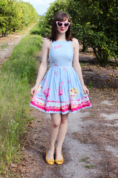 Sky Blue Florida Print Asos Dress Bubble Gum Cat Eye Sungles