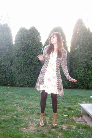 white Laura Ashley dress - beige Forever 21 sweater - brown Simply Vera by Vera