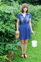 blue Forever 21 dress - tan thrifted Fossil purse - brown Rialto wedges