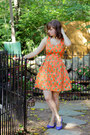 Light-orange-pineapple-print-modcloth-dress-brown-cat-eye-asos-sunglasses