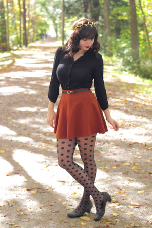 black polka dot asos tights - burnt orange Forever 21 skirt