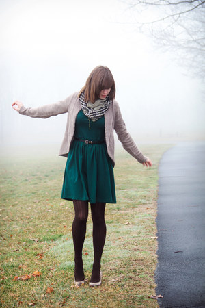 beige H&amp;M cardigan - forest green asos dress
