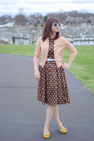 dark brown polka dotted Lindy Bop dress - white heart shaped Delias sunglasses