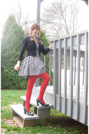 white H&M dress - black kohls sweater - red tights - black Unlisted shoes - red