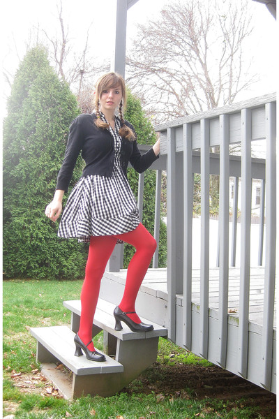 a8b48bbb767c3 white H&M dress - black kohls sweater - red tights - black Unlisted shoes -  red