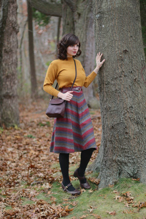 maroon vintage striped skirt - mustard vintage sweater - black Target tights
