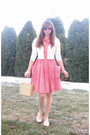 Red-dress-white-take-out-sweater-white-payless-shoes-beige-purse-red-for