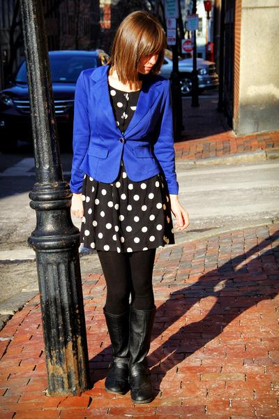blue MINE blazer - black Madden Girl boots - black polka-dotted H&M dress