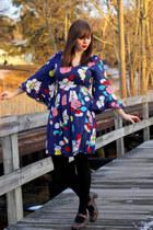 navy modcloth dress - black Apt 9 tights - dark brown mary jane Clarks heels