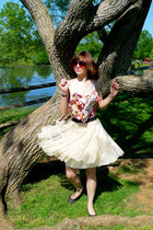 off white Forever 21 skirt - brown H&M sunglasses - brown Gap flats