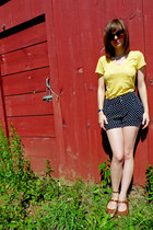 black H&M shorts - yellow Mudd shirt - dark brown H&M sunglasses