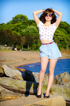 red anchor necklace - light blue Old Navy shorts - black Lucky Brand sunglasses