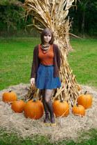 burnt orange Forever 21 shirt - dark brown Delias sweater