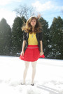 Yellow-mudd-shirt-red-forever-21-skirt-white-tights-gray-vera-wang-sweater