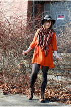 brown thrifted Rockport boots - carrot orange Forever 21 dress