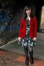 Black-bare-traps-boots-black-skeleton-print-folter-clothing-dress