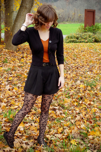 Forever 21 shirt - H&M jacket - Take out sweater - leopard print Apt 9 tights