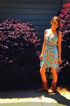 brown cute H&M boots - blue flowery American Eagle dress