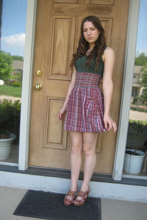 green Mossimo shirt - red Mossimo skirt - brown Charlotte Russe shoes