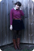crimson Hanes sweater - gray Jcrew shirt - dark brown American Eagle belt - navy