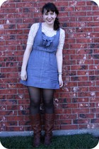 neutral H&M shirt - blue Target dress - dark brown unknown tights - dark brown N