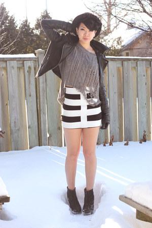 bowler hat H&M hat - motojacket UB jacket - Stitches sweater - L&B skirt - bambo